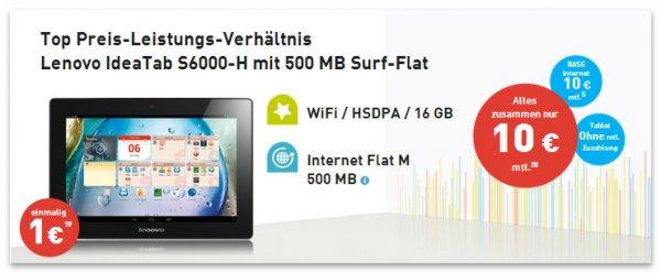 Lenovo IdeaTab S6000-H mit effektiv kostenloser Datenflat @base.de