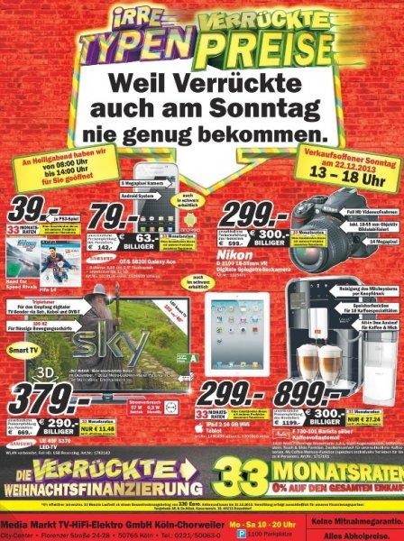 Samsung UE40F5370 379€, iPad 2 16GB Wifi 299€, Galaxy Ace 79€, Nikon D3100 18-55 299€ [Mediamarkt Köln Chorweiler]