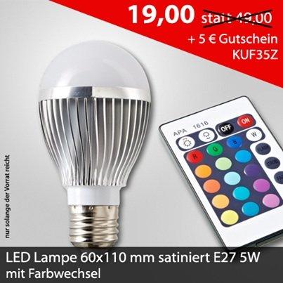LED Lampe bei DeLife mit Farbwechsler für 14 € inkl. Versand