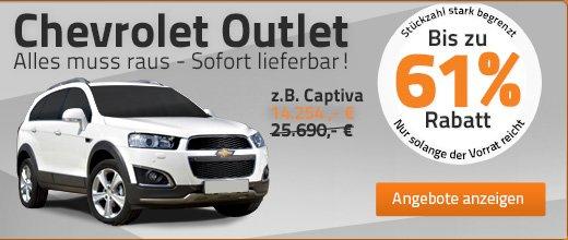 Auf Chevrolet-Modelle gibt es Rabatte von bis zu 61% - ohne Lieferzeit!