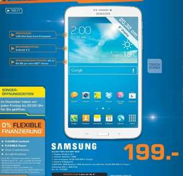 Samsung Galaxy Tab 3 8.0 16GB Wifi 199€ Lokal [Saturn Paderborn]