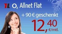 Top und für kurze zeit o2 Allnet Flat + 180€ auf die Rechnung und 90 Euro Gutschein effektiv 8,65