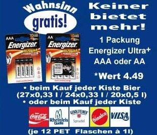 [lokal@ K+K] Energizer Batterien als gratis Zugabe zu Bierkisten