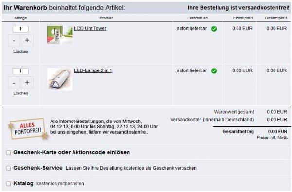 [Weltbild.de] Gratis LCD Uhr Tower +  LED-Lampe 2 in 1 (Versandkostenfrei)