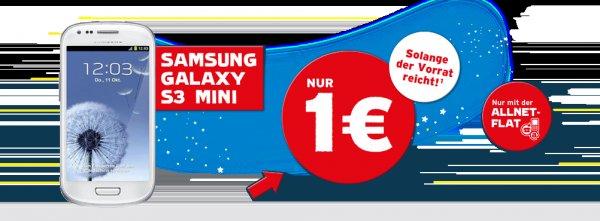 Wie findet ihr das: Samsung Galaxy S3 Mini I8190 Marble White 8GB für 1 Euro + Anschlussgebühr 19,90 Euro bei blau.de