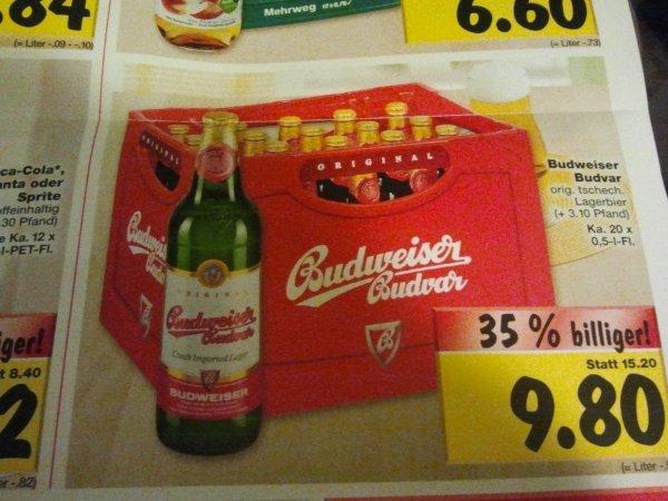 Lokal Berlin-Schöneweide Budweiser 20x0.5l für 9.80€