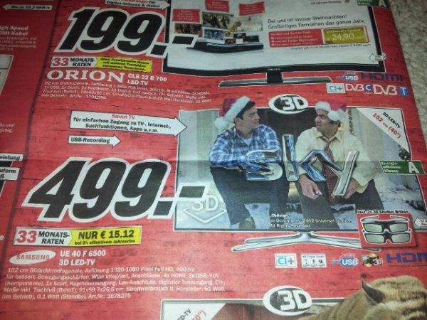 SAMSUNG UE40F6500 schwarz 499€ bei MEDIAMARKT !!!!!