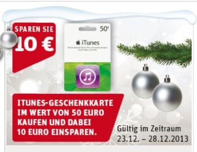 [Rewe] 50 Euro iTunes Karte für 40 Euro