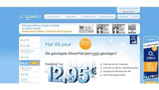 Wieder da! Simplytel Flat XS für 12,95 (O2 Netz) ohne Vertragslaufzeit. Nur noch heute!