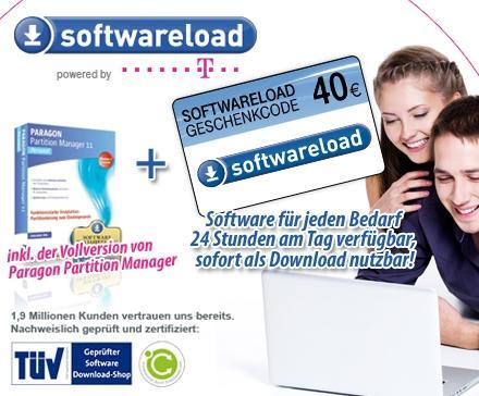Dailydeal: Softwareload Gutschein im Wert von 40 Euro + Paragon Partition Manager für 24 Euro