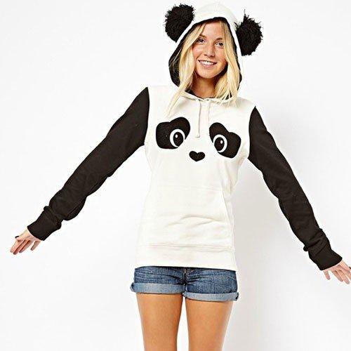 Coole & süße Baumwolle Sweatshirt mit Kapuze in Figur von Panda