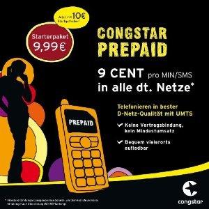Congstar Prepaidkarte mit 10,- EUR Startguthaben