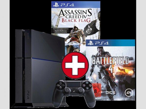 Sony PS4 Konsole inkl. AC4 und COD:Ghosts oder BF4