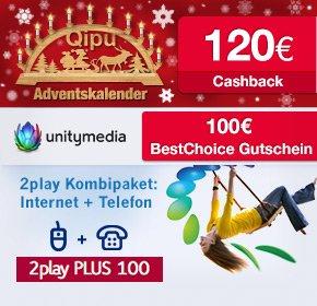 Unitymedia 2play Plus 100 mit 100€ BestChoice Gutschein + 120€ Cashback von Qipu