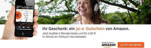 3 Monate audible.de Abo inkl. 30€ Amazon Gutschein für GMX Premium Kunden