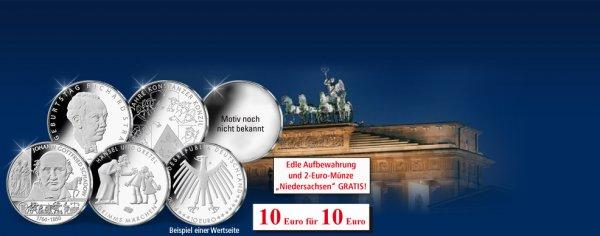 5x 10€ Gedenkmünzen 2014 Tausch-Aktion + 2€ Gedenkmünze gratis