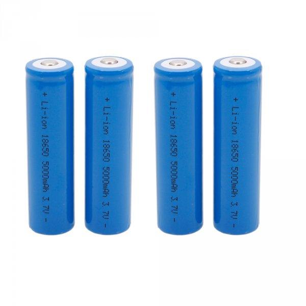 4 x 18650 3.7V-4.2V 5000 mah Li-ion Akkus Dunkle Blau