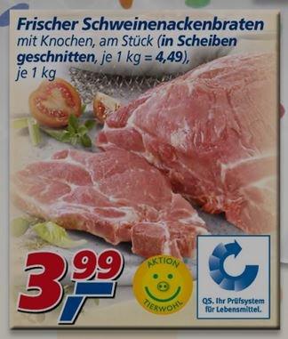 offline real: Frischer Schweinenackenbraten mit Knochen