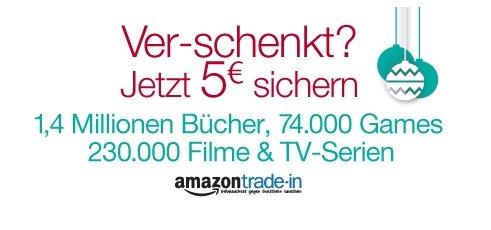 Trade-IN Bonus: 5 EURO Amazon-Gutschein zusätzlich zum Eintauschwert (ab 5 EURO Mindesteintauschwert) @ Amazon Trade-In vom 27.12. - 12.01.