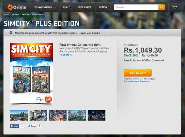 SimCity Plus Edition aus Indien für 1049.30 Rs. ~12,50€