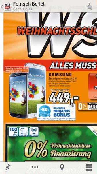 Lokal Unna? Berlet Galaxy S4 für 449 € minus 50 € Cashback. = 399 €