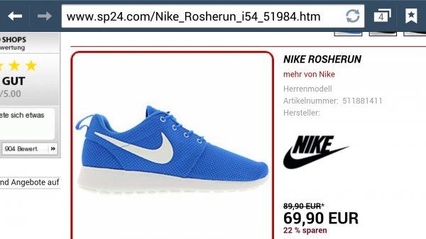 Nike Rosherun verschiedene Farben und Größen verfügbar. Für 69,90 € @ sp24.com