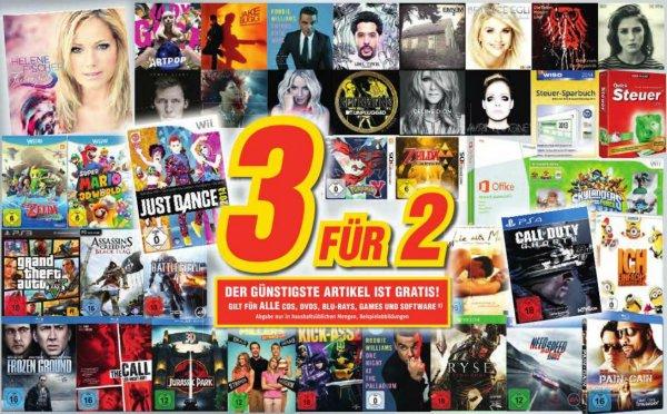 [Bundesweit] MEDIMAX - 3 für 2 - CDs , DVDs , BLU- Ray , Games und Software