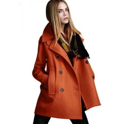 Damen Wolle Mantel Jacke schwarz/orange, S-XXL - 29,49€