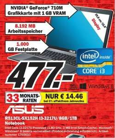 """ASUS """"R513CL-SX152H """" Notebook für 477,- € (Duisburg-Großenbaum)"""