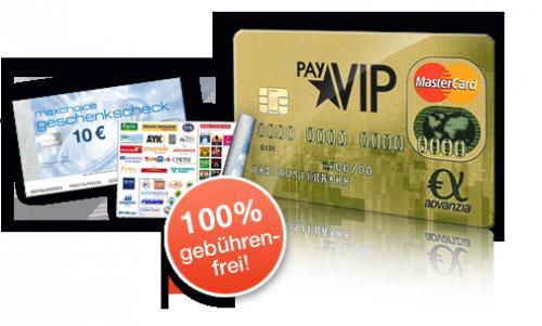 kostenloses PayVIP Kreditkarte (wie Gebührenfrei von advanzia) mit 10 Euro Gutschein und 12 Euro Cashback