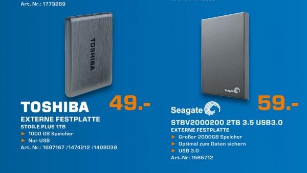 Toshiba STOR.E PLUS 1TB 49€,Seagate Expansion USB 3.0 2TB 59€  Lokal [Saturn Aachen]