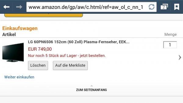 Lg 60pn6506 Amazon TV Deal des Tages nur 749€!! Update: bei redcoon.de jetzt auch für 749€