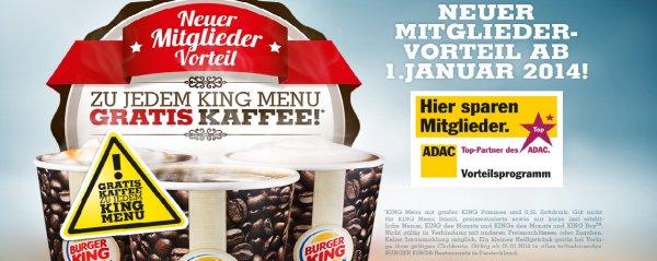 [Burger King] Gratis Cafe auftanken für ADAC-Mitglieder (ab 01.01.2014)