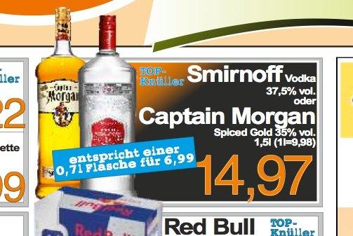 1.5 Liter ! Captain Morgan oder Smirnoff Vodka für 14,97 Euro bei aktiv irma