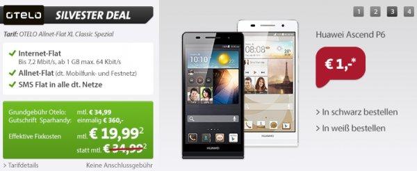 OTELO Allnet-Flat XL (Flat in alle Netze, SMS-Flat, 1GB Daten) im Vodafone Netz + Huawei P6 (Wert: 269€) für zusammen 480€
