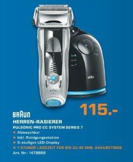 [Saturn offline Hannover] BRAUN Rasierer Series 7 Pulsonic Pro CC System für 115€ / Edit: In München nur 99€
