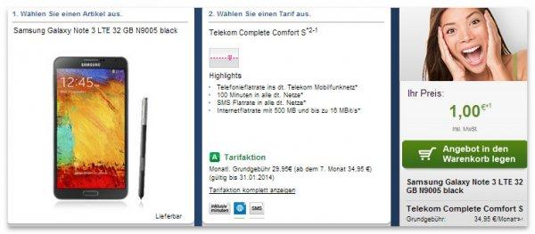 Telekom Complete Comfort S und Galaxy Note 3 für effektiv 10 Euro im Monat