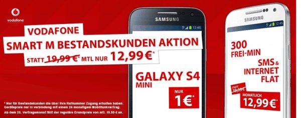 Preisbörse24 Bestandskunden: Samsung Galaxy S4 mini +SMS FLAT+ INET 300mb+ 300 MIN alle Netze für 311,76 €