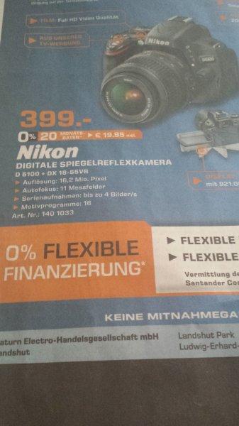 [lokal, SATURN Landshut] Nikon D5100 + DX 18-55VR 399EUR