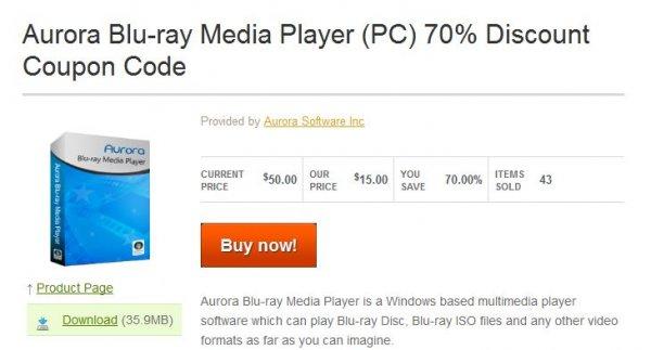 Aurora Blu-ray Media Player (PC) 70% reduziert für 13,16 Euro (inkl. MWST)