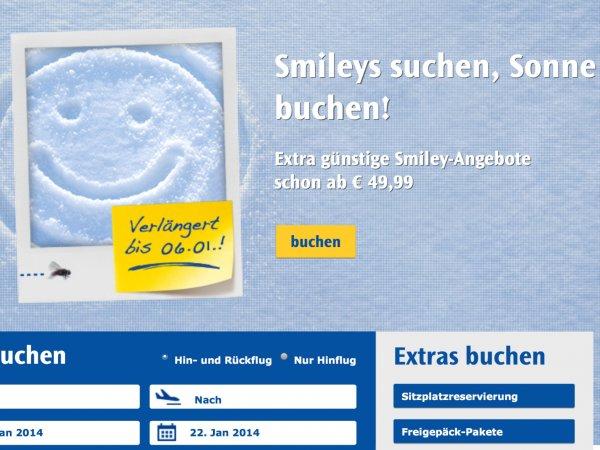 Condor Flugreisen Smiley Angebote bis 6.1.2014 verlängert