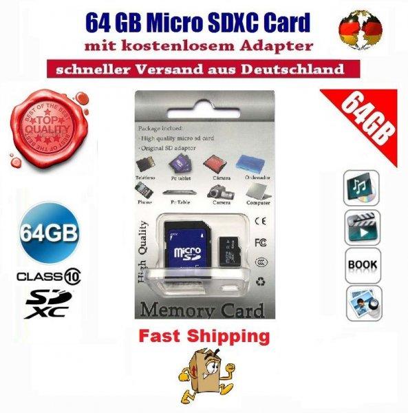 64GB Micro SDXC  Class 10 für 27,90€ @Ebay
