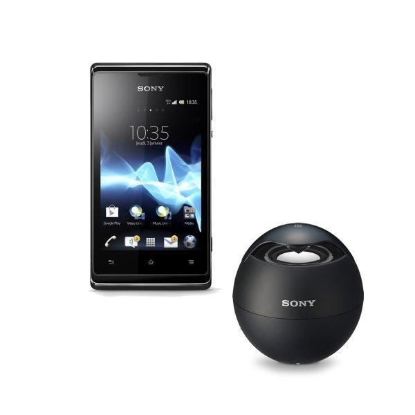 Sony Xperia E Schwarz + Sony Musicbox SRS BTV5 für 104€ @Smartkakuf