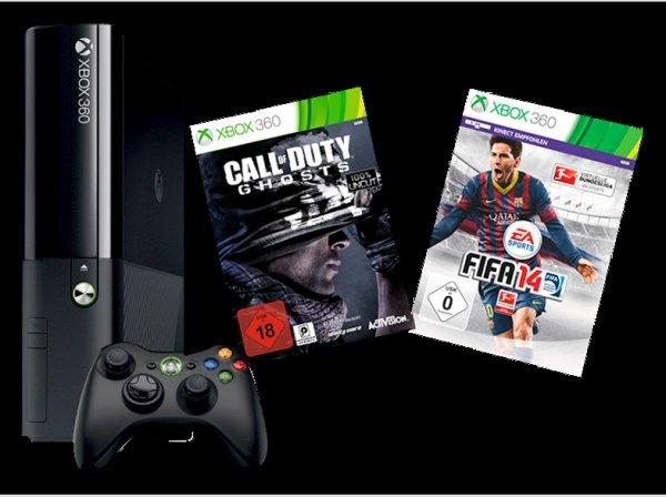 Xbox 360 250GB One Design inkl. FIFA 14 + CoD Ghosts für 199+VSK