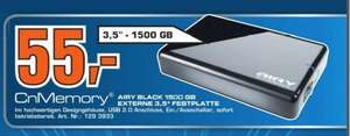 "CnMemory - 3.5"" Externe Festplatte - 1.5TB - USB 2.0 - SATURN-STUTTGART - Lokal?"
