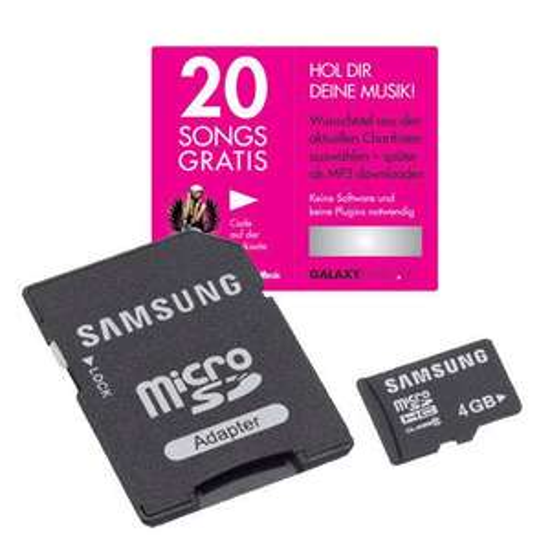 Samsung 4GB micro SDHC Karte + Adapter inkl 20 Songs gratis downloaden @Hitmeister