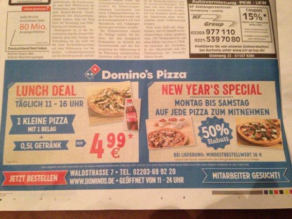 50% auf jede Pizza bei Dominos in Köln-Porz
