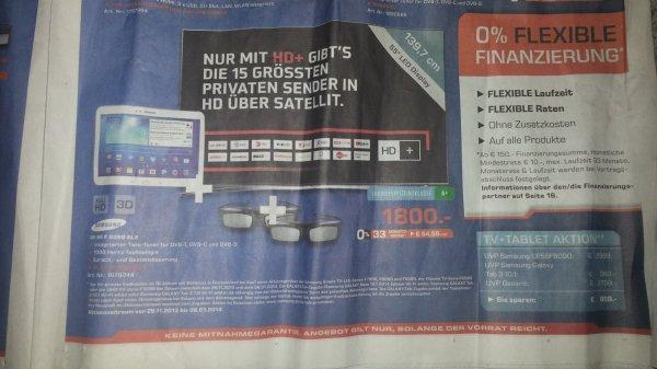 (LOKAL Stuttgart, Saturn Königsbaupassage) Samsung UE55F8090 incl. Galaxy TAB 3 10.1 / 1800,- €