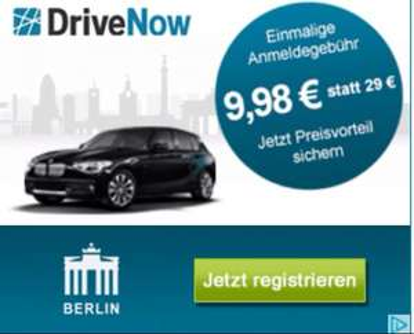 DriveNow Berlin 9,98€ Anmeldung sonst 29€
