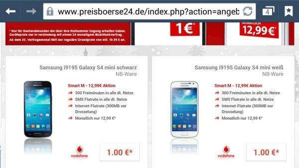 Samsung i9195 galaxy s4 Mini NB-Ware mit Vodafone Smart M für 13€ mtl. @ preisboerse24.de nur für Bestandskunden